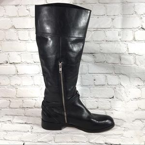 Coach knee high ridding black leather boots
